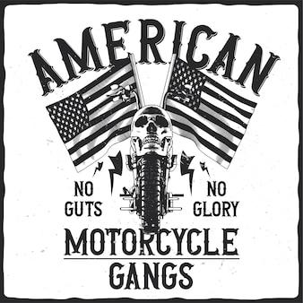 Motorrad mit totenkopf und amerikanischen flaggen