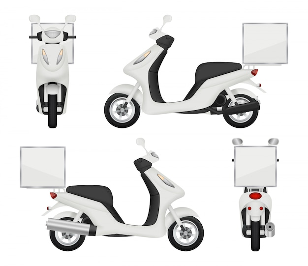 Motorrad realistisch. ansichten des rollers für den hinteren 3d transport der zustelldienstselbstoberseite lokalisiert