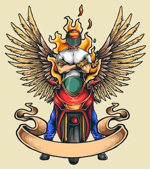 Motorrad sport club illustration mit flügeln