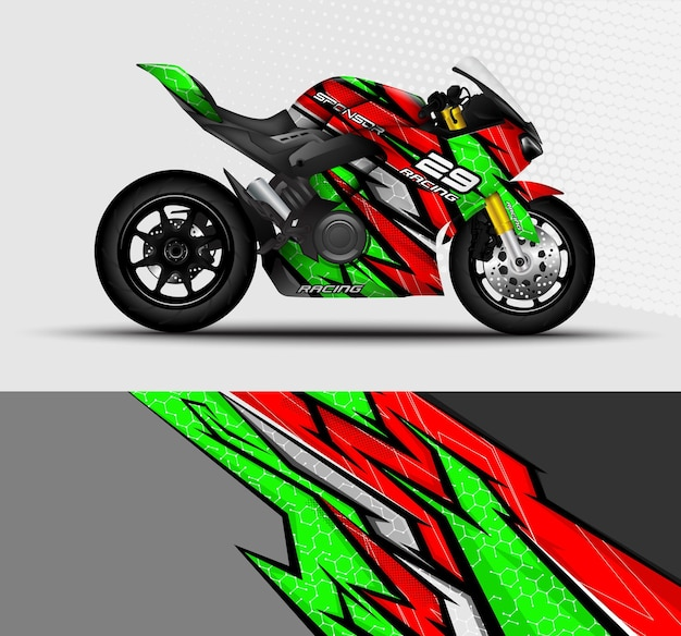 Motorrad sportbikes wrap aufkleber und vinyl-aufkleber-design mit abstraktem hintergrund