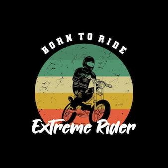 Motorrad strand typografie für t-shirt druck mit palmbeach und motorrad vintage retro poster