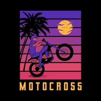 Motorrad-strand-typografie für t-shirt-druck mit palmen, strand und motorrad. vintage-poster.