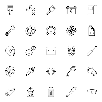 Motorrad teil icon pack, mit umriss-symbol-stil