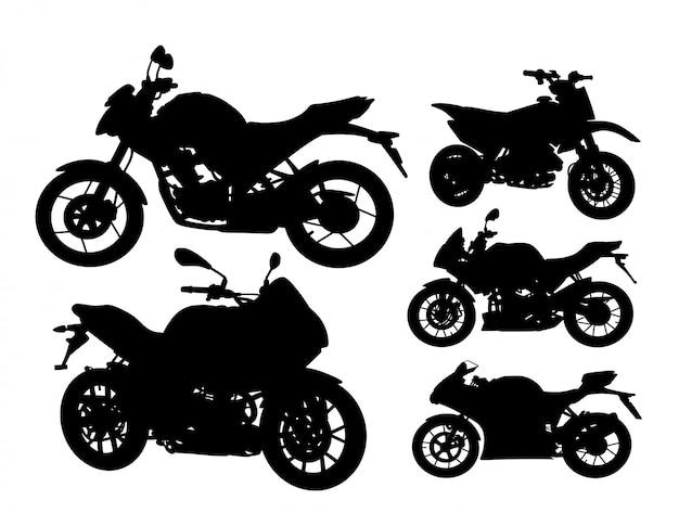 Motorrad transport silhouette set