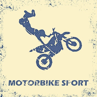 Motorrad- und radfahrermannillustration. kreatives und sportliches bild Premium Vektoren