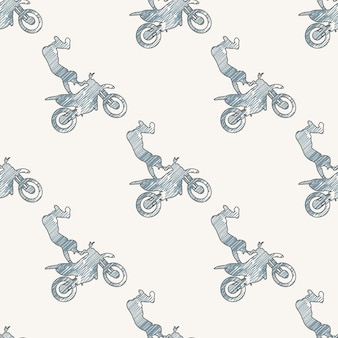Motorrad- und radfahrermannmusterillustration. kreatives und sportliches bild