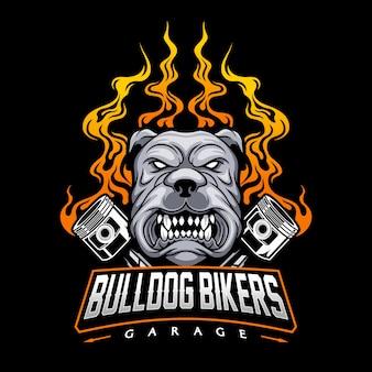 Motorradclub-logo mit bulldogge und kolbenillustration