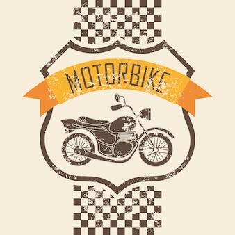 Motorraddesign über rosa hintergrundvektorillustration