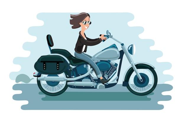 Motorradfahren. fahrerin. frau auf dem fahrrad. konzept