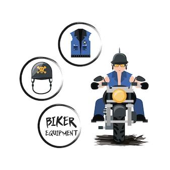 Motorradfahrer, der sein fahrrad- und radfahrerausrüstungsikone fährt