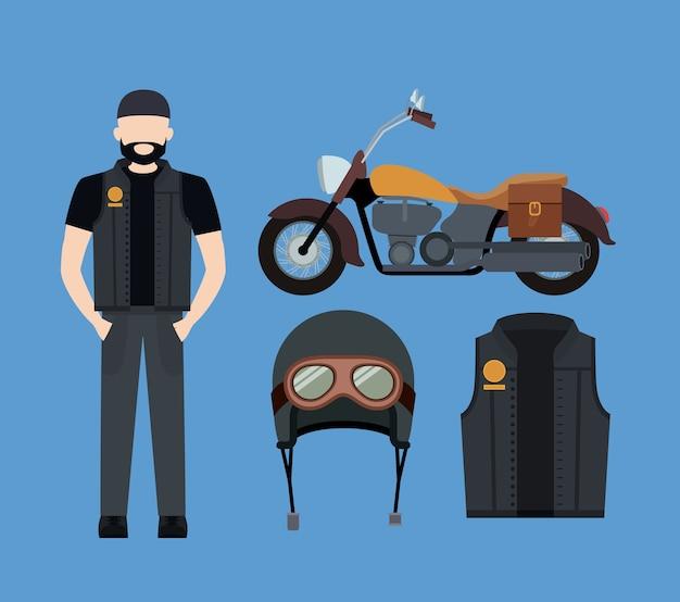 Motorradfahrer und klassisches gelbes motorradset