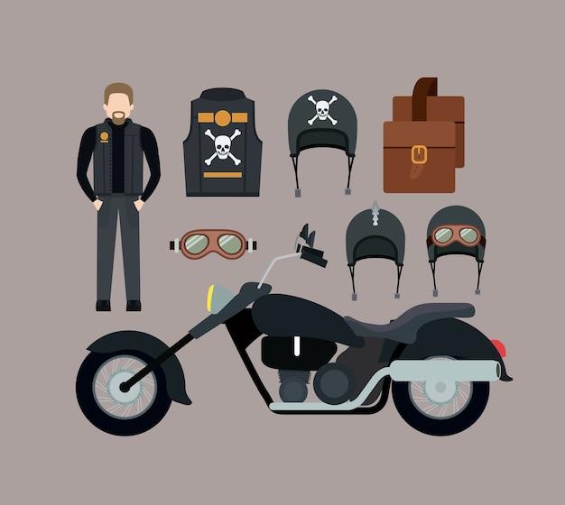 Motorradfahrer und klassisches schwarzes motorradset