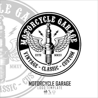 Motorradgarage logo-vorlagee Premium Vektoren