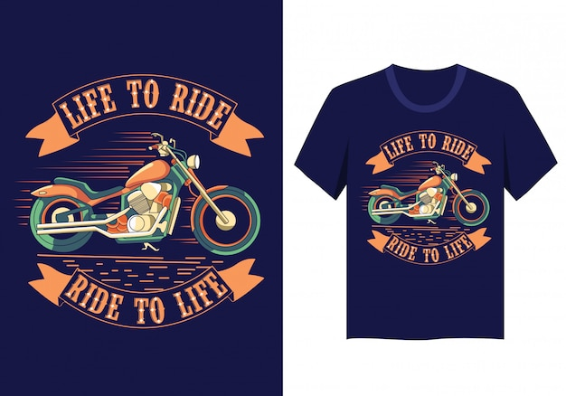 Motorradleben, zum des t-shirt entwurfs zu reiten