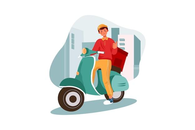 Motorradlieferant, der rote uniform trägt und bereit ist, essen zu senden