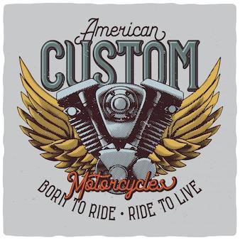 Motorradmotor und flügel