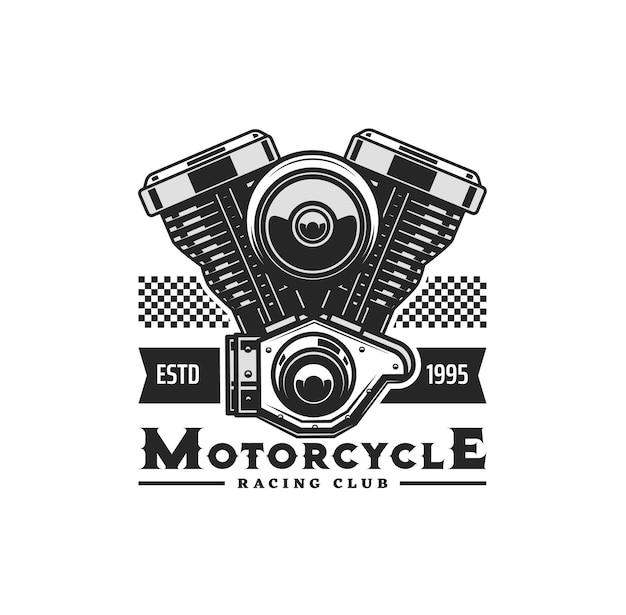 Motorradmotorsymbol mit vektormotorrad oder chopperfahrzeug zweizylinder-kolbenmotor. biker- oder rennsportclub, garage, reparaturservice und motorrad-ersatzteilgeschäft isoliertes symboldesign