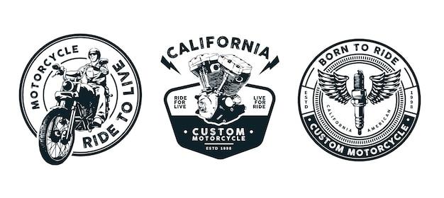 Motorradschablonendesign für logo, abzeichen und andere