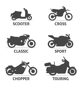 Motorradtyp- und modellsymbole eingestellt. schwarze illustration des vektors lokalisiert auf weißem hintergrund mit schatten. varianten für web.