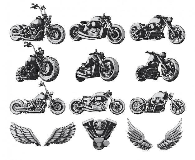Motorräder, flügel und motor