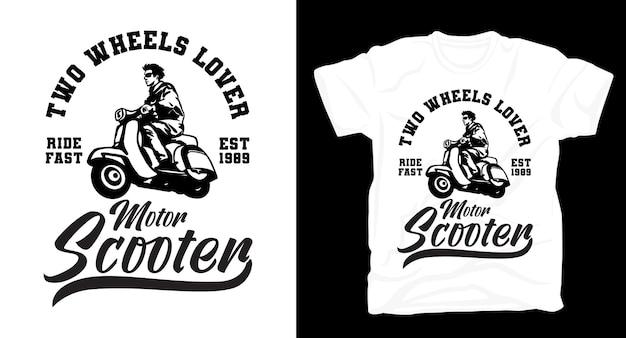 Motorroller-typografie mit fahrer-t-shirt-design