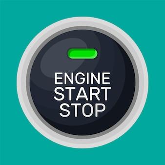 Motorstart- und -stoppknopf mit licht. automotor starten. moderner start- und stoppschalter für kraftfahrzeuge. automobil-armaturenbrettelement. vektorillustration im flachen stil