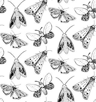 Motte nahtlose muster. handgezeichnete abbildung von fliegenden insekten. schwarz-weiß-skizzen.