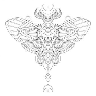 Motten-mandala-tätowierungs-illustration im linearen stil