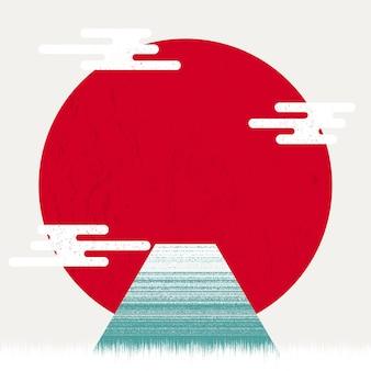 Mount fuji bei sonnenuntergang japanische grußkarte oder banner mit texturhintergrund