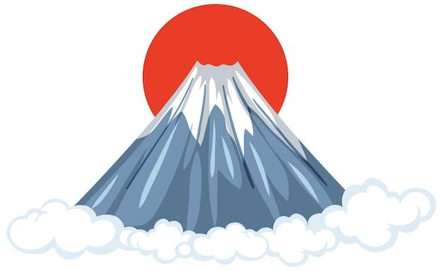 Mount fuji mit roter sonne im cartoon-stil isoliert auf weiß
