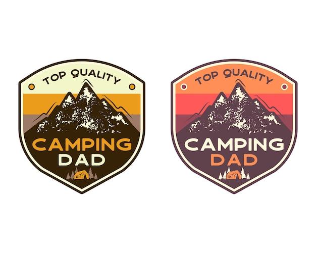 Mountain camping abzeichen mit zitat camping papa von höchster qualität. reise-patch-design. schön zum vatertag als geschenk, t-shirt, druck. vektor-briefmarken-set isoliert auf weiss.