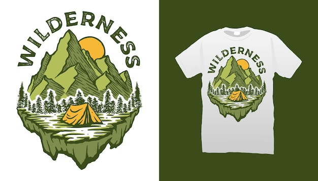 Mountain camping t-shirt design