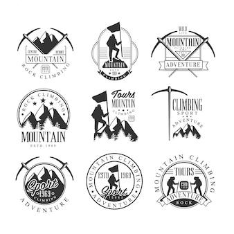 Mountain climbing extreme adventure tour schwarzweiß-zeichen-design-vorlagen mit text- und werkzeugsilhouetten