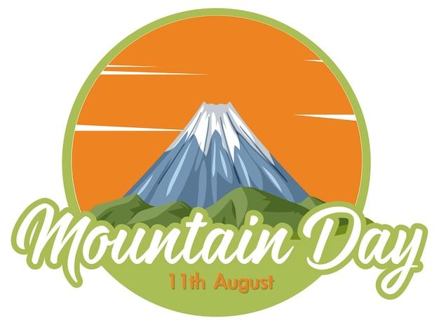 Mountain day am 11. august banner mit mount fuji