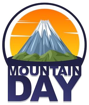 Mountain day banner mit isoliertem mount fuji