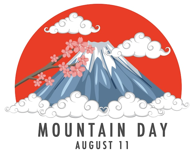 Mountain day in japan am 11. august banner mit mount fuji
