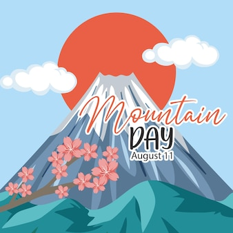 Mountain day in japan banner mit mount fuji hintergrund mount