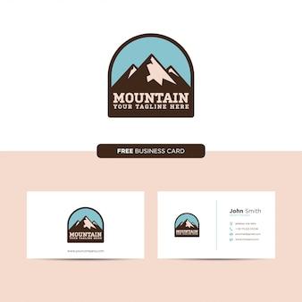 Mountain emblem logo retro und visitenkarte