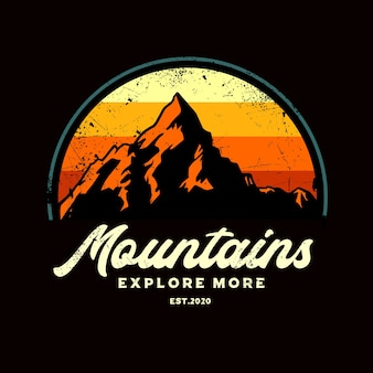 Mountain explore retro grafik