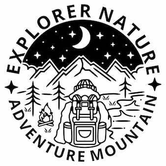 Mountain explorer monoline vintage outdootr abzeichen design