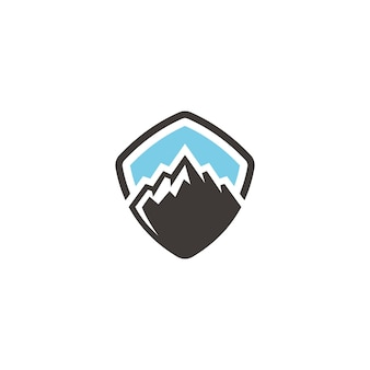 Mountain hill peak-abzeichen für outdoor-abenteuer-logo-design