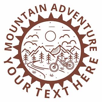 Mountain monoline bike vintage outdoor abzeichen design
