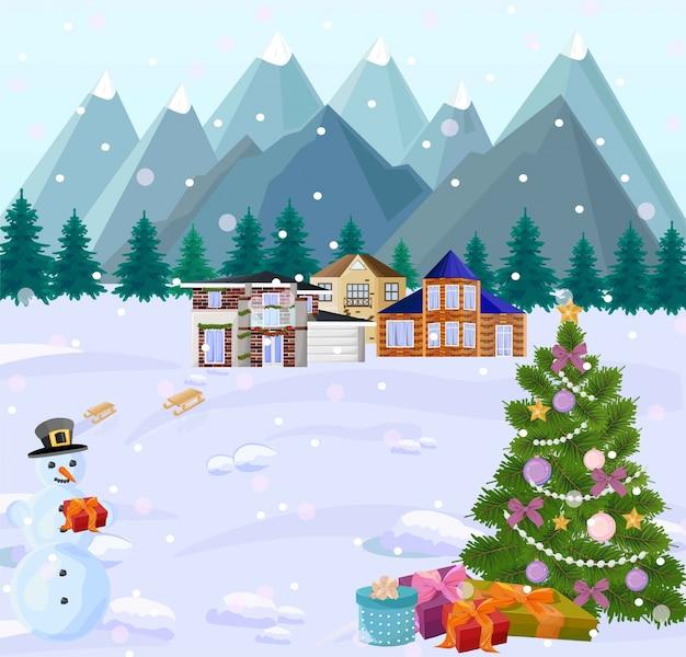 Mountain view in winterferien. kleine häuser, weihnachtsbaum und schneemann. snowy hintergründe