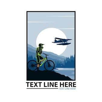 Mountainbiker und wasserflugzeug