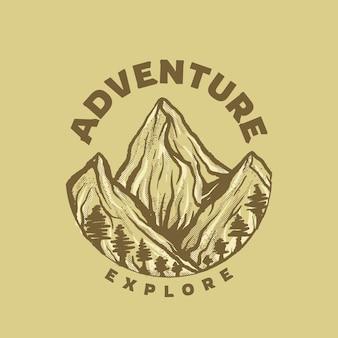 Mountaint landschaft mit alten farbe vintage-stil