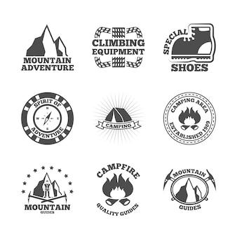 Mountine bergsteiger-etiketten-set