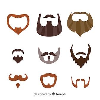 Movember-bewusstseins-schnurrbart-sammlung im flachen design