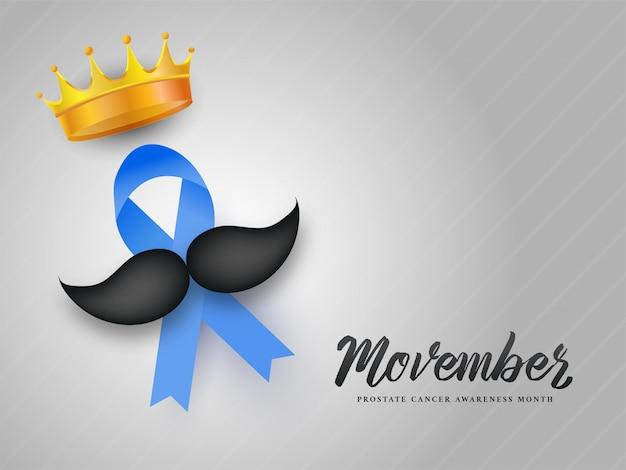 Movember-design mit aids-band, schnurrbart und goldener krone.