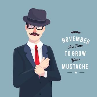 Movember design mit elegantem mann
