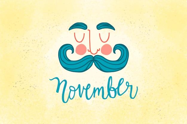 Movember design mit swirly schnurrbart